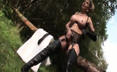 British busty mature blonde in lingeria masturbating in the