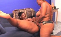 Ebony BBW lesbo cunt licked and dildo fucked