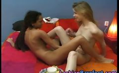 Black and White Teen Lesbians Licking