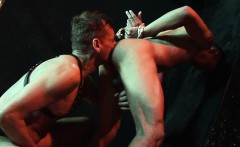Tied up twink gets licked and dicked like a slave