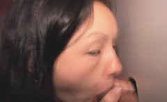 Brunette Sucking Dick With Facial Cumshot Through Glory Hole