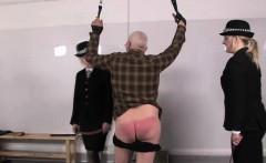 Police femdoms punish pervert sub with leather belts