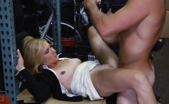 Hot blond milf sucks off and pussy pounded in storage room