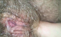 Licking her Hairy, Wet, Granny Pussy