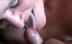 Mature chick giving head - closeup