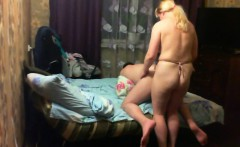 Blonde MILF pegging his teen asshole