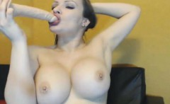 Hot Sexy MILF with Huge Tits Playing with her Dildo