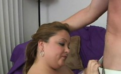 Dude cums on fat girlie after banging her very well