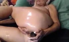 Fat Blonde Granny Fools Around