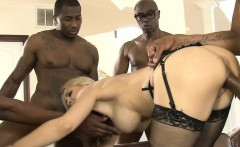 Group of four black dudes fucked lusty woman in her holes