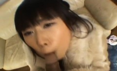 Rin rides boner with shaved crack and gets cum in mouth