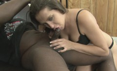Horny Brunette Sucking A Big Black Cock Dry