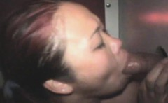 asian beauty sucks black dick and takes facial through hole