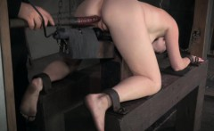 Pussyclamped submissive disciplined with bastinado