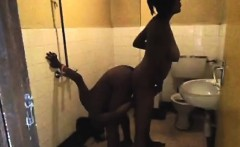 horny lesbians having fun in the public toilete