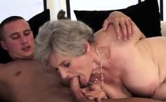 Gray Granny Gobbles Cock