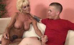 Bigtitted mature Nikki Sixx jerking cock