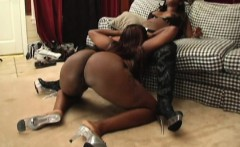 Lustful ebony ladies devour each other's pussies and share a black rod