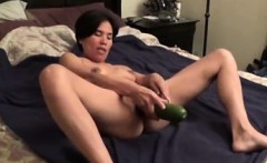 Oriental girlfriend fucked with cucumber