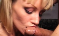 Elegant blonde wraps her lips around a cock and then wildly fucks it