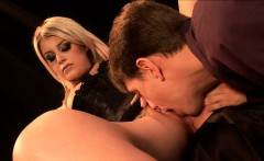 Sexy blonde in black boots has a hung guy licking and plowing her slit
