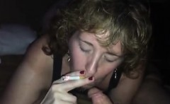 Bitch that is blonde sucks and smokes dick in pov