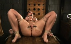 Busty girl is tied for bondage sex