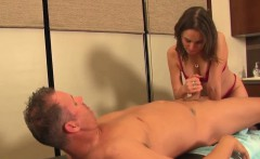 Kinky femdom masseuse tying rope around cock