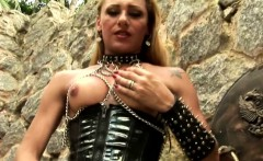 Britt Plays With Swords In Sexy Dress