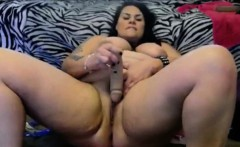 Beautiful Fat Babe Masters Sloppy Dildo