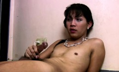 Filipino femboy strips down and masturbates hairy girl rod