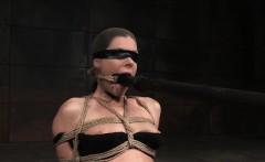 Blindfolded subslut flogged by brutal master