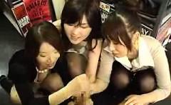 lucky stud has a trio of enchanting asian girls stroking hi