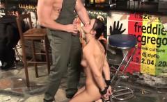 Naughty german enjoys bondage and cock sucking