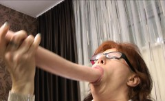 Mature secretary prolapses from big brutal anal dildo