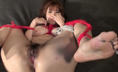 Asian busty babe tied up to be toy fucked