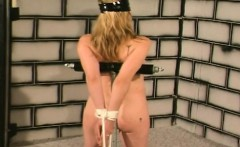 Nude milf blonde showing smooth body in bondage submission