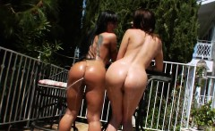 Unusual lesbos fill up their big bums with cream and blast i