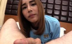 Teen ladyboy inserting anal beads before an ass fuck