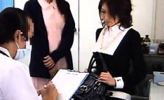 Beautiful Japanese babe gets her pussy examined in the doct