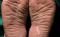 Cum on meaty wrinkled that are broad feet 2.