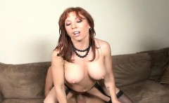 stacked redhead mommy in black lingerie brittany enjoys a long stick