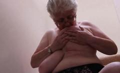 Grandma Licks Her Big Boobs