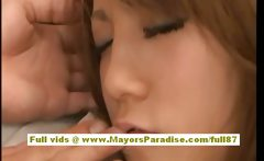 Risa Tsukino asian babe is tied and her pussy teased