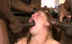 nasty brunette babe anal pounded by huge black cocks