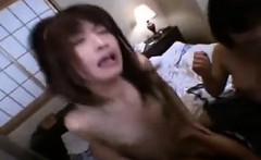 Insatiable Japanese girls getting fucked rough together by