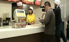 Fast food worker comes out behind the counter to suck and f