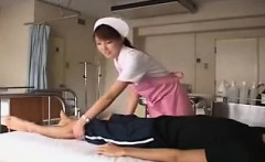 naughty japanese nurse works her sexy lips and gifted hands