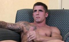 Tattooed soldier hunk Kevin Daniels enjoys his wanking off