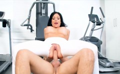 hot busty chick fucks with her trainer in ripped yoga pants